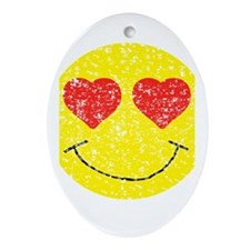Vintage In Love Smiley 2 Ornament (Oval)