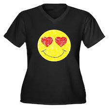 Vintage In Love Smiley 2 Women's Plus Size V-Neck