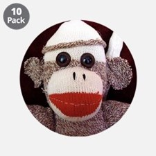 """Ernie the Sock Monkey 3.5"""" Button (10 pack)"""