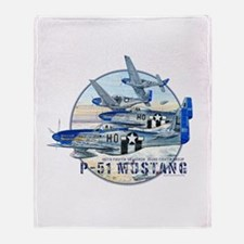 World War II P-51 Mustang Throw Blanket