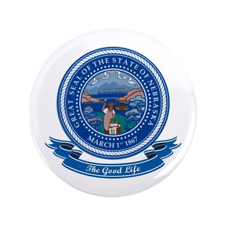 "Nebraska Seal 3.5"" Button"