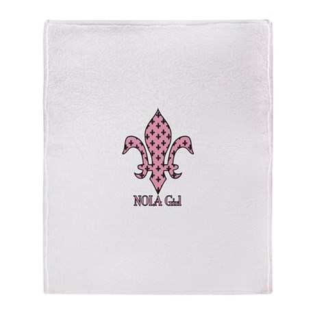 NOLA Girl Fleur de lis (pink) Throw Blanket