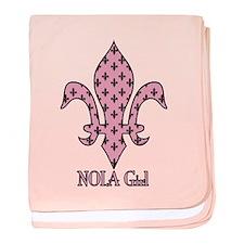 NOLA Girl Fleur de lis (pink) baby blanket