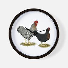 Black Sex-linked Chicken Pair Wall Clock