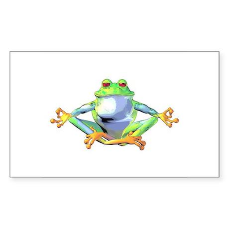 Meditating Frog Sticker (Rectangle)