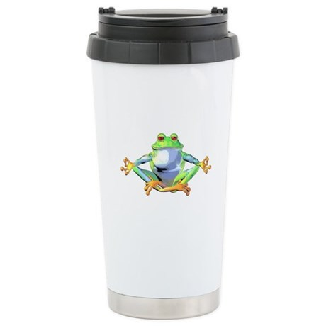 Meditating Frog Stainless Steel Travel Mug