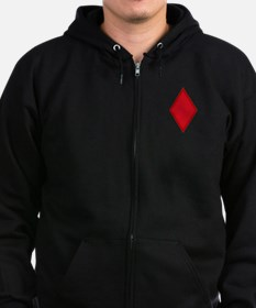 Red Diamonds Zip Hoodie (Dark)