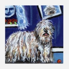 BERGAMASCO SHEEPDOG smiling m Tile Coaster