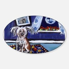 CHINESE CRESTED DOG smiling m Oval Decal