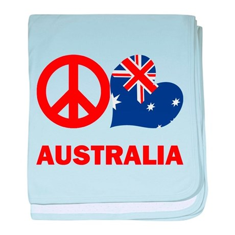 Peace Love Australia baby blanket