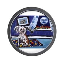 CHINESE CRESTED DOG smiling m Wall Clock