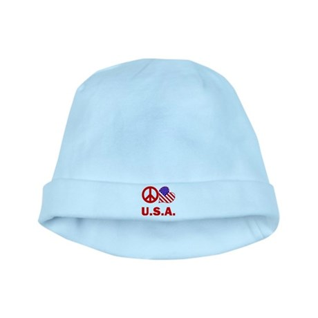 Peace Love U.S.A. baby hat
