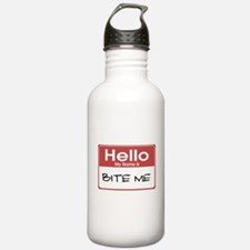 Bite Me Name Tag Water Bottle