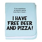 Free Beer And Pizza baby blanket