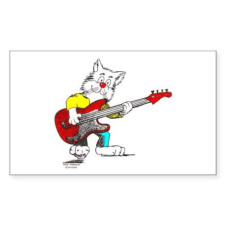 Catoons™ Bass Guitar Cat Sticker (Rectangle)