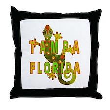 Tampa Florida Lizard Throw Pillow