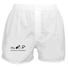 Swim, Bike, Run, Rinse, Repeat. Boxer Shorts