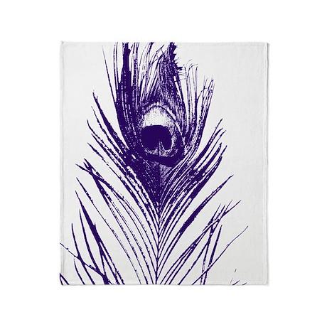 Purple Peacock Feather Throw Blanket