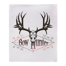 Bow hunter,deer skull Throw Blanket