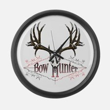 Bow hunter,deer skull Large Wall Clock