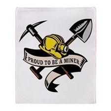 coal miner mining Throw Blanket