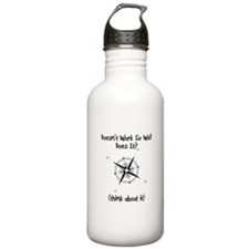 Super Awesome Broke Compass Sports Water Bottle