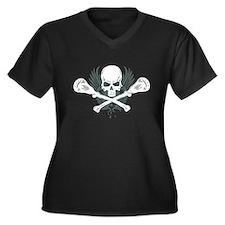 Lacrosse and Bones Women's Plus Size V-Neck Dark T