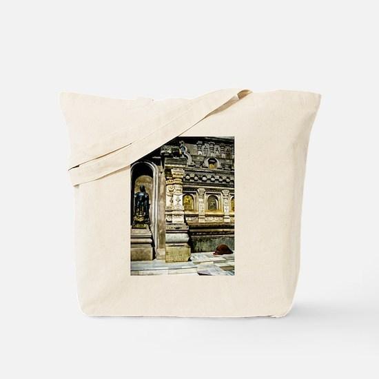 Praying Monk in Bodhgaya Tote Bag