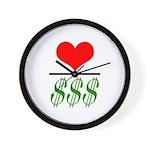 Love Over Money Wall Clock