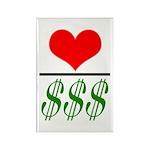 Love Over Money Rectangle Magnet (10 pack)