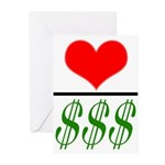 Love Over Money Greeting Cards (Pk of 10)