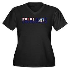 Falklands Women's Plus Size V-Neck Dark T-Shirt