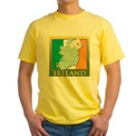 Ireland Map and Flag Yellow T-Shirt