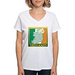 Ireland Map and Flag Women's V-Neck T-Shirt