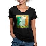 Ireland Map and Flag Women's V-Neck Dark T-Shirt