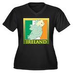 Ireland Map and Flag Women's Plus Size V-Neck Dark