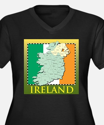 Ireland Map and Flag Women's Plus Size V-Neck Dark