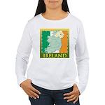 Ireland Map and Flag Women's Long Sleeve T-Shirt