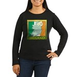 Ireland Map and Flag Women's Long Sleeve Dark T-Sh