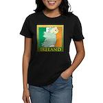 Ireland Map and Flag Women's Dark T-Shirt