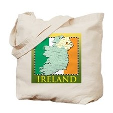 Ireland Map and Flag Tote Bag