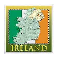 Ireland Map and Flag Tile Coaster