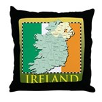 Ireland Map and Flag Throw Pillow