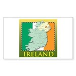 Ireland Map and Flag Sticker (Rectangle 50 pk)