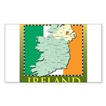 Ireland Map and Flag Sticker (Rectangle 10 pk)