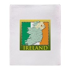 Ireland Map and Flag Throw Blanket