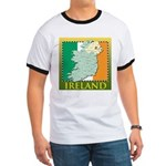 Ireland Map and Flag Ringer T