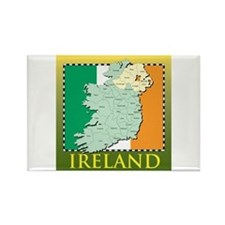 Ireland Map and Flag Rectangle Magnet