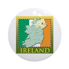 Ireland Map and Flag Ornament (Round)