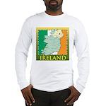 Ireland Map and Flag Long Sleeve T-Shirt